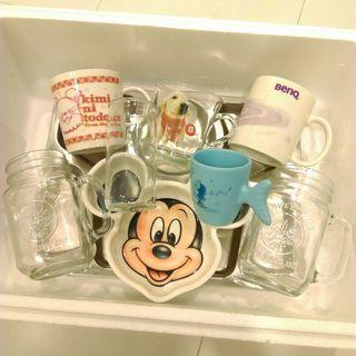 全新二手迪士尼米奇餐盤自助餐盤+馬克杯共9件