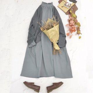 復古日系洋裝 寬鬆 荷葉領 森林系洋裝