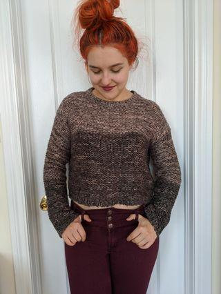 Forever 21 two tone crop sweater