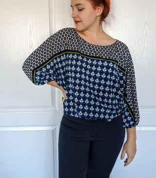 Loose fitting pattern top