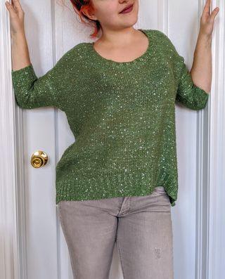 Green sequin sweater