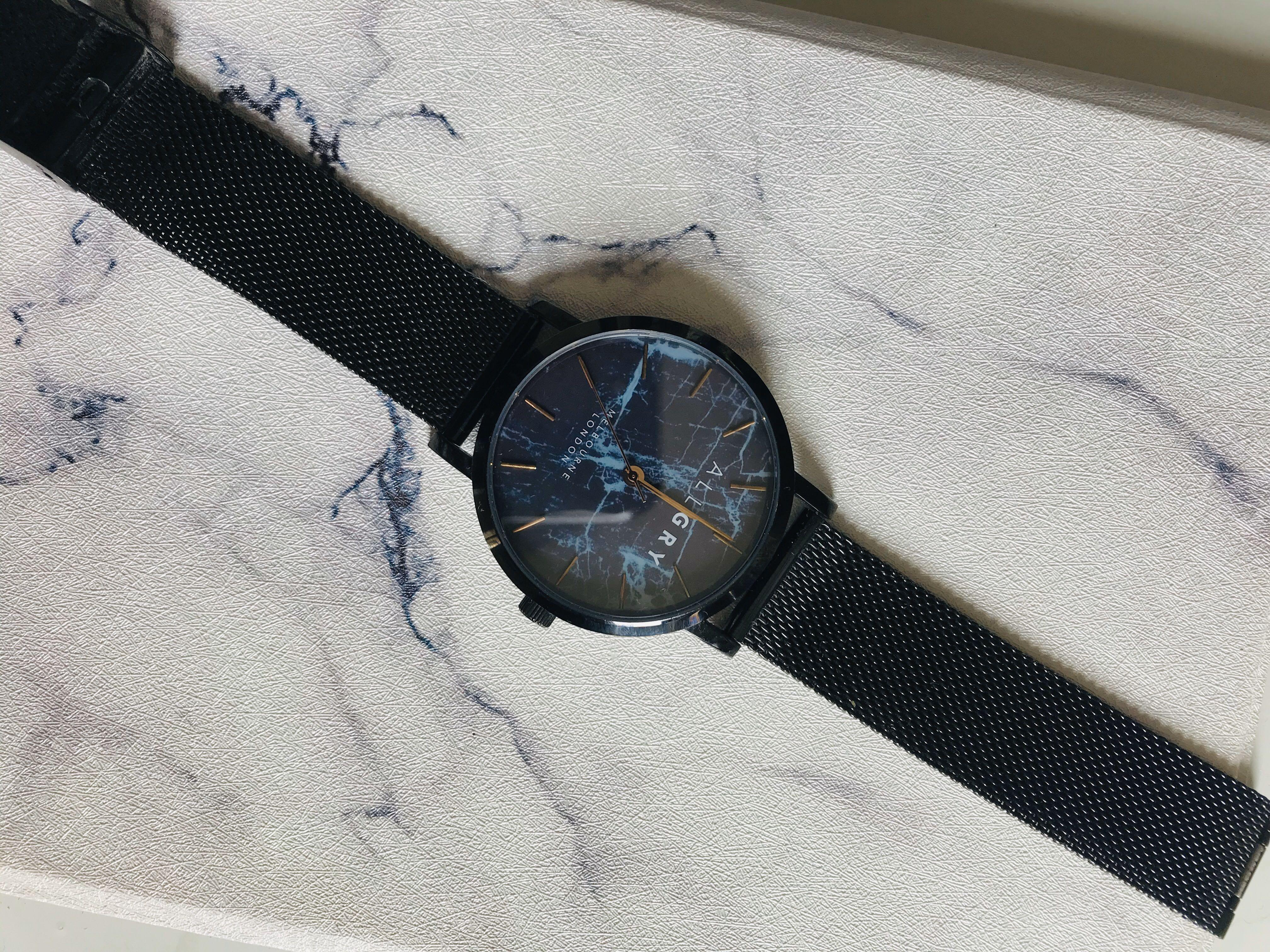 ALLGRY BLUE MARBLE & ROSE GOLD WATCH  WITH BLACK MESH STRAP