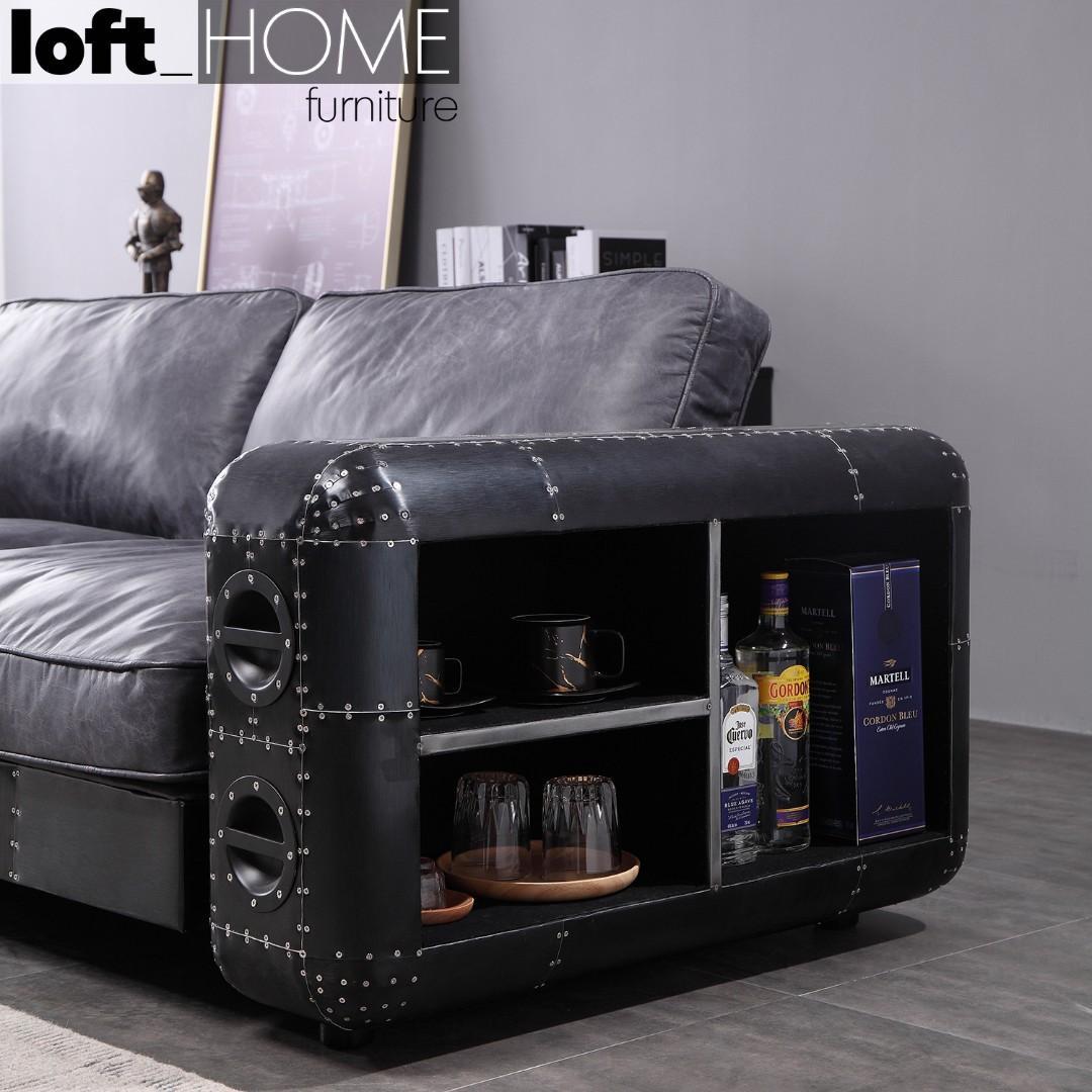 Aluminium Leather Sofa – BlackAircraft
