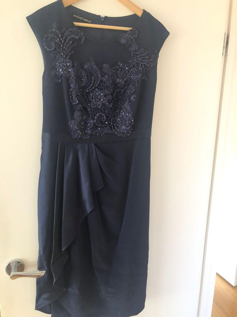 Anthea Crawford midnight blue dress ( navy blue ) only worn once for a wedding in excellent condition and has its own hanging dress bag with coat hanger.
