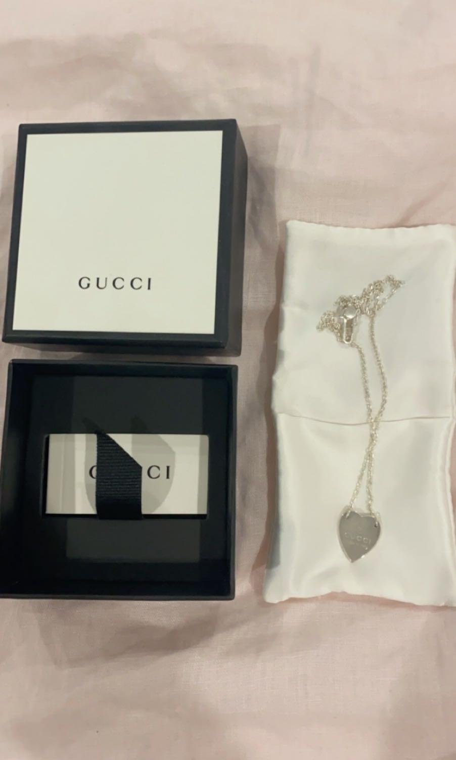 Brand new silver Gucci heart necklace never worn can include shopping bag if preferred. Length is adjustable from 45cm to 48 cm