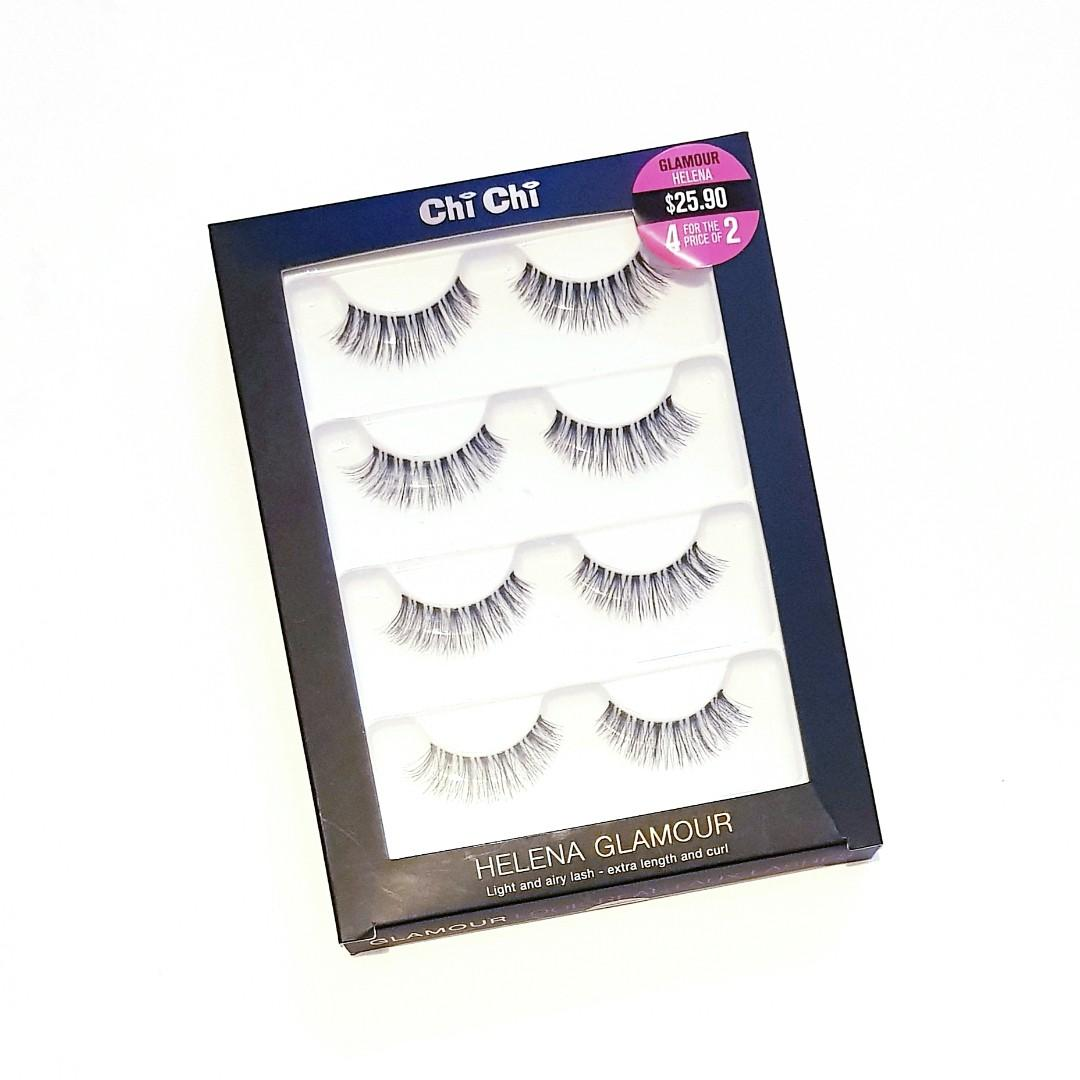 Chi Chi Longwearing Delicate Soft Extreme Length Flexible Reuseable Luscious Curl Natural Glamour Helena Fake Flase Eyelashes Lashes