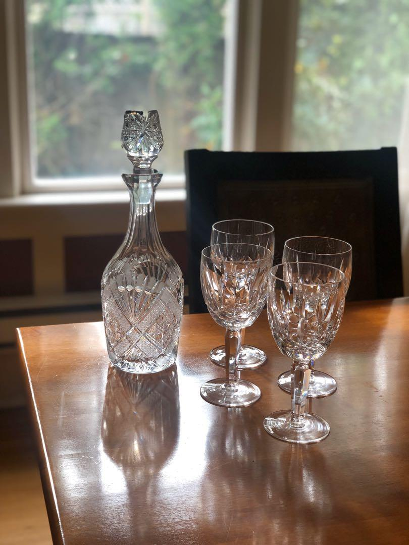 *CHRISTMAS SALE* Waterford Crystal Wine Decanter with 4 Wine Glasses
