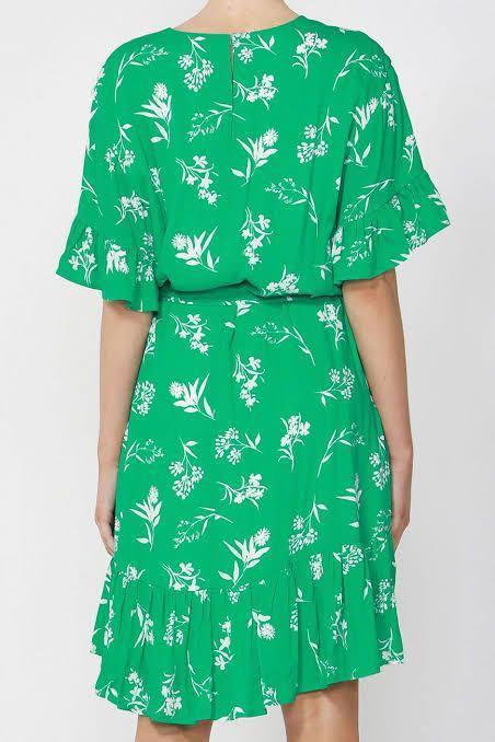 DECJUBA - Green Ruffle Dress - Size 12 - NEW with Tags