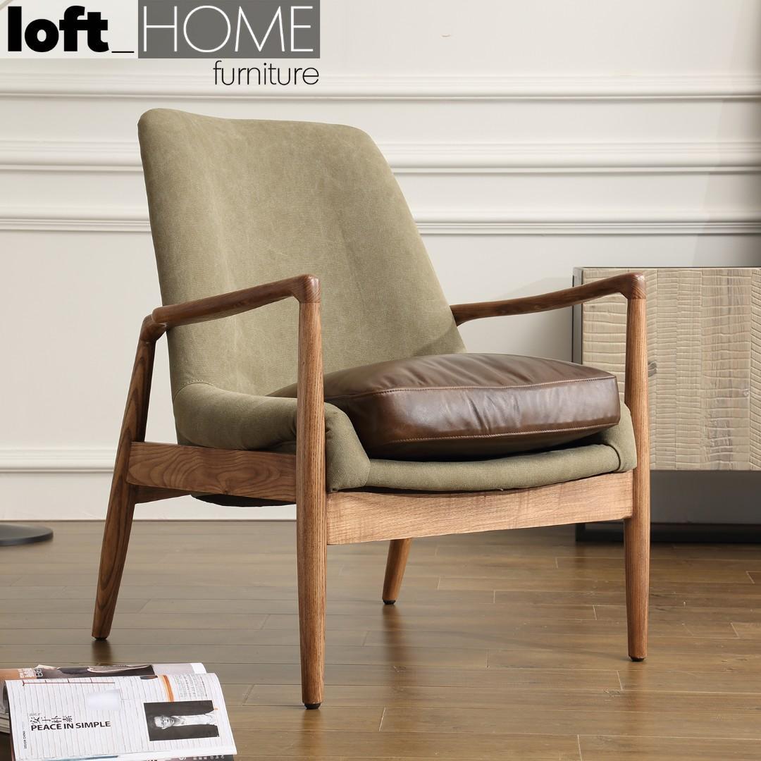 Genuine Leather & Canvas Sofa – Barton