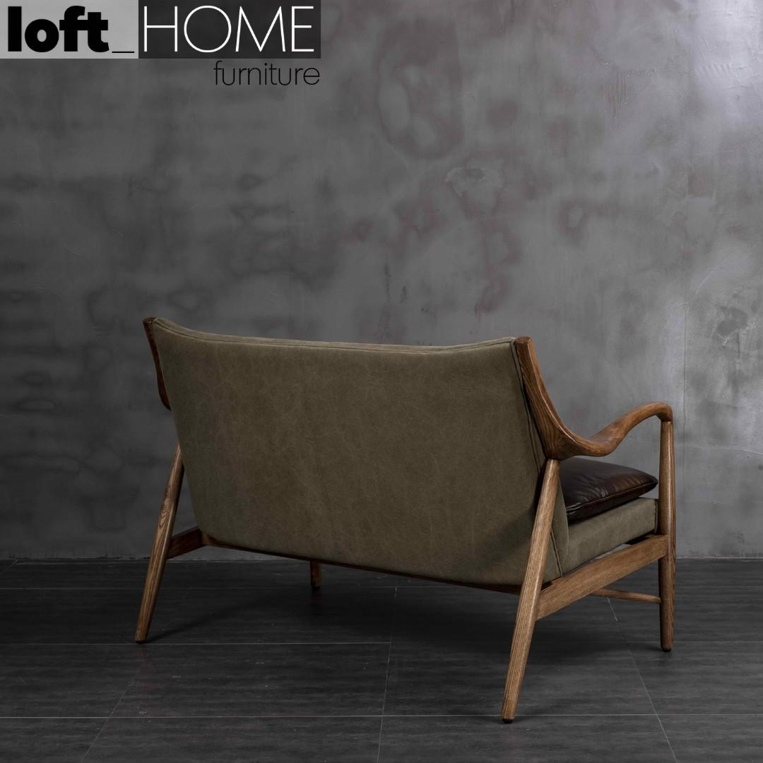 Genuine Leather & Canvas Sofa – Double COWBOY