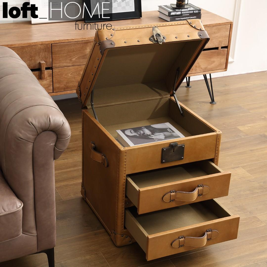 Genuine Leather Side Table – Nut Ter Trunk
