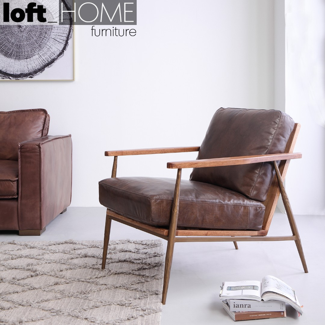 Genuine Leather Sofa Chair– Hammer Brass
