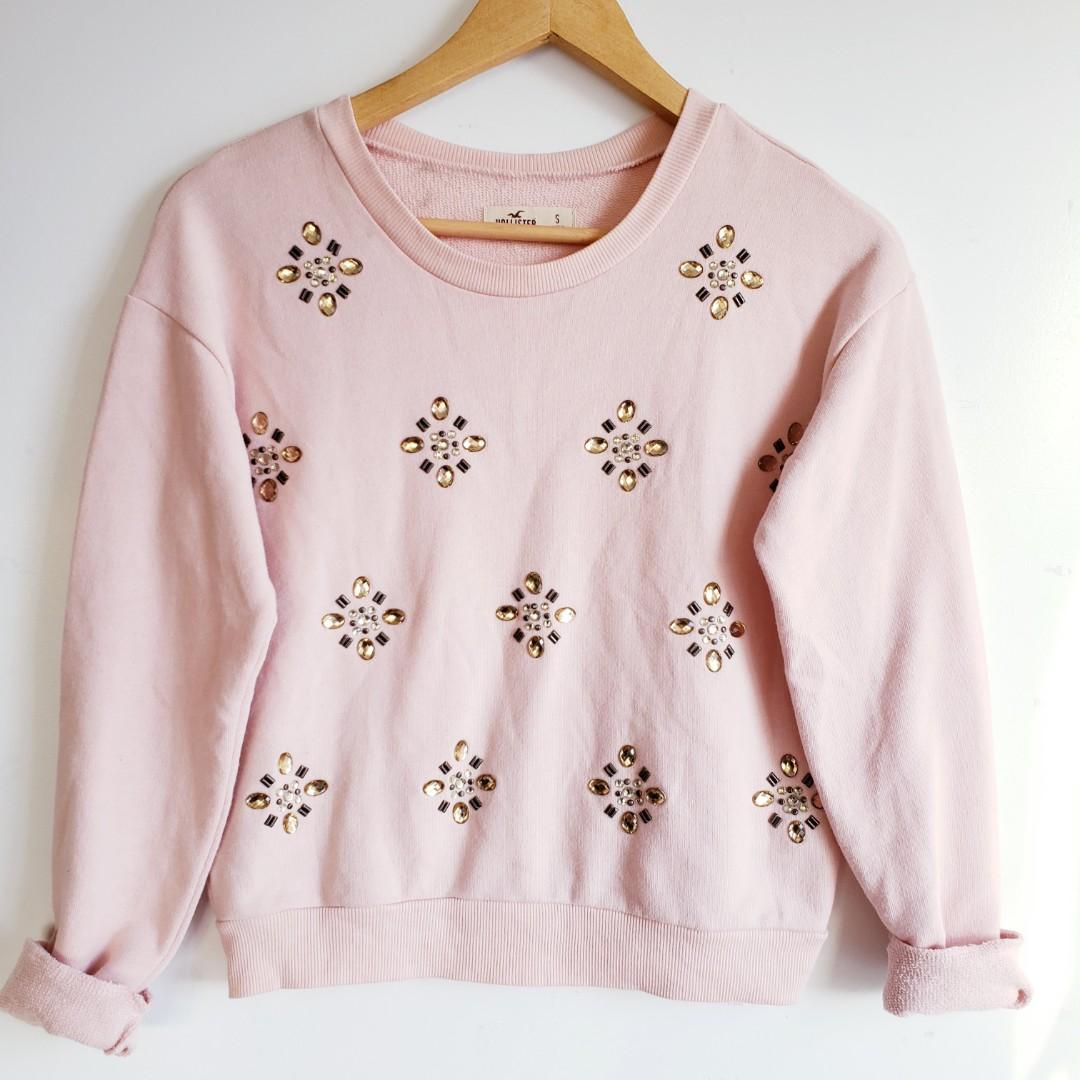 Hollister Embellished Jewelled Pink Sweater Size Small.