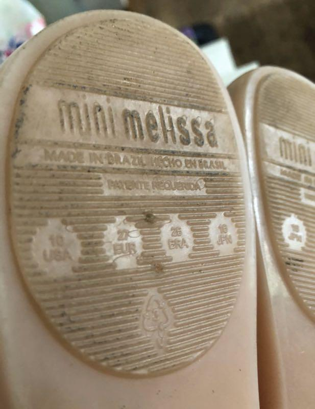 Mini Melissa light pink shoes with bow size 10
