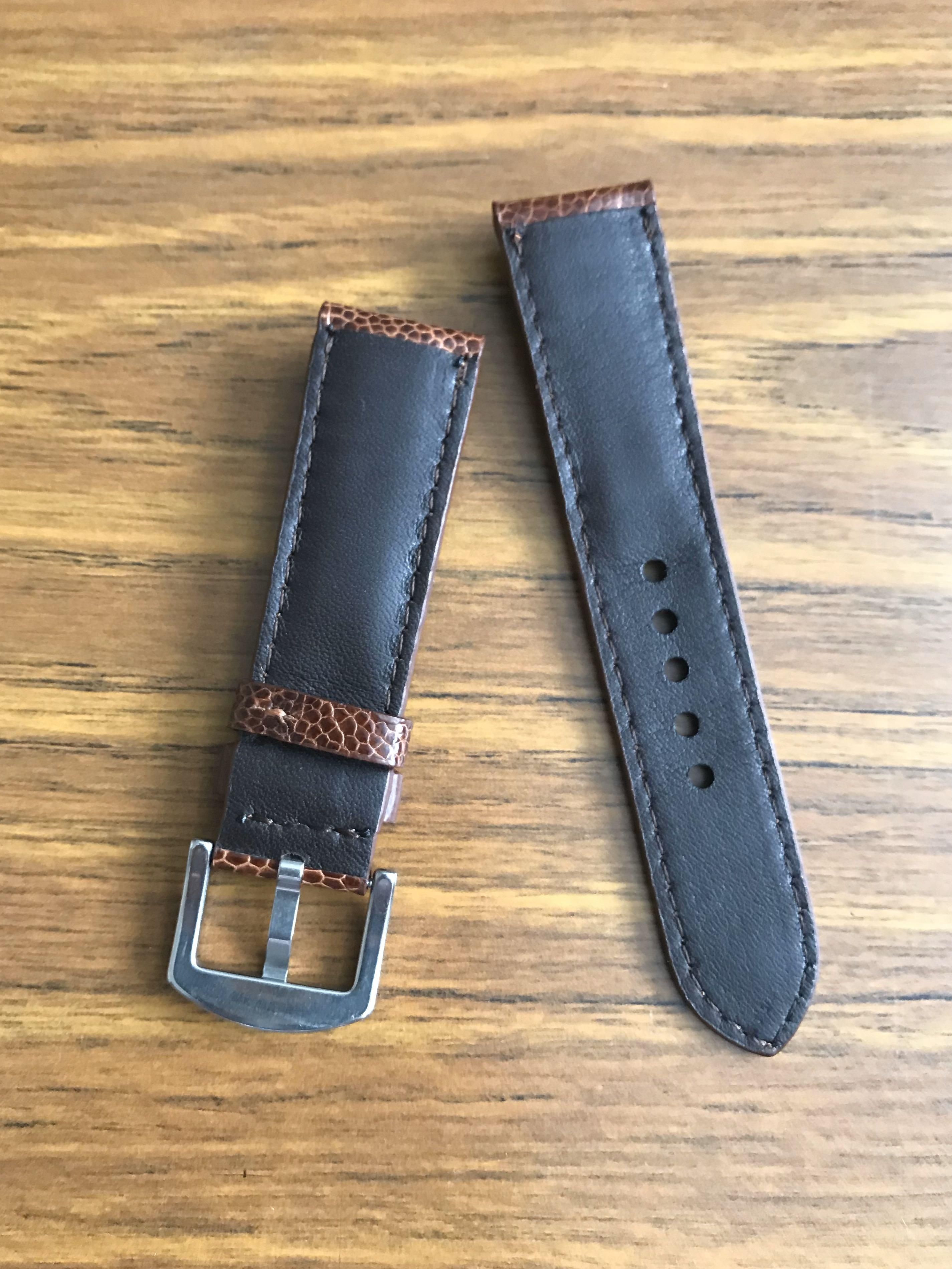 22mm/20mm Authentic Scarce and Gorgeous Cognac Brown Ostrich Leg Watch Strap 👍🏻  (only piece in this leather, lug width and colour- once sold, no more 🙏🏻😊)