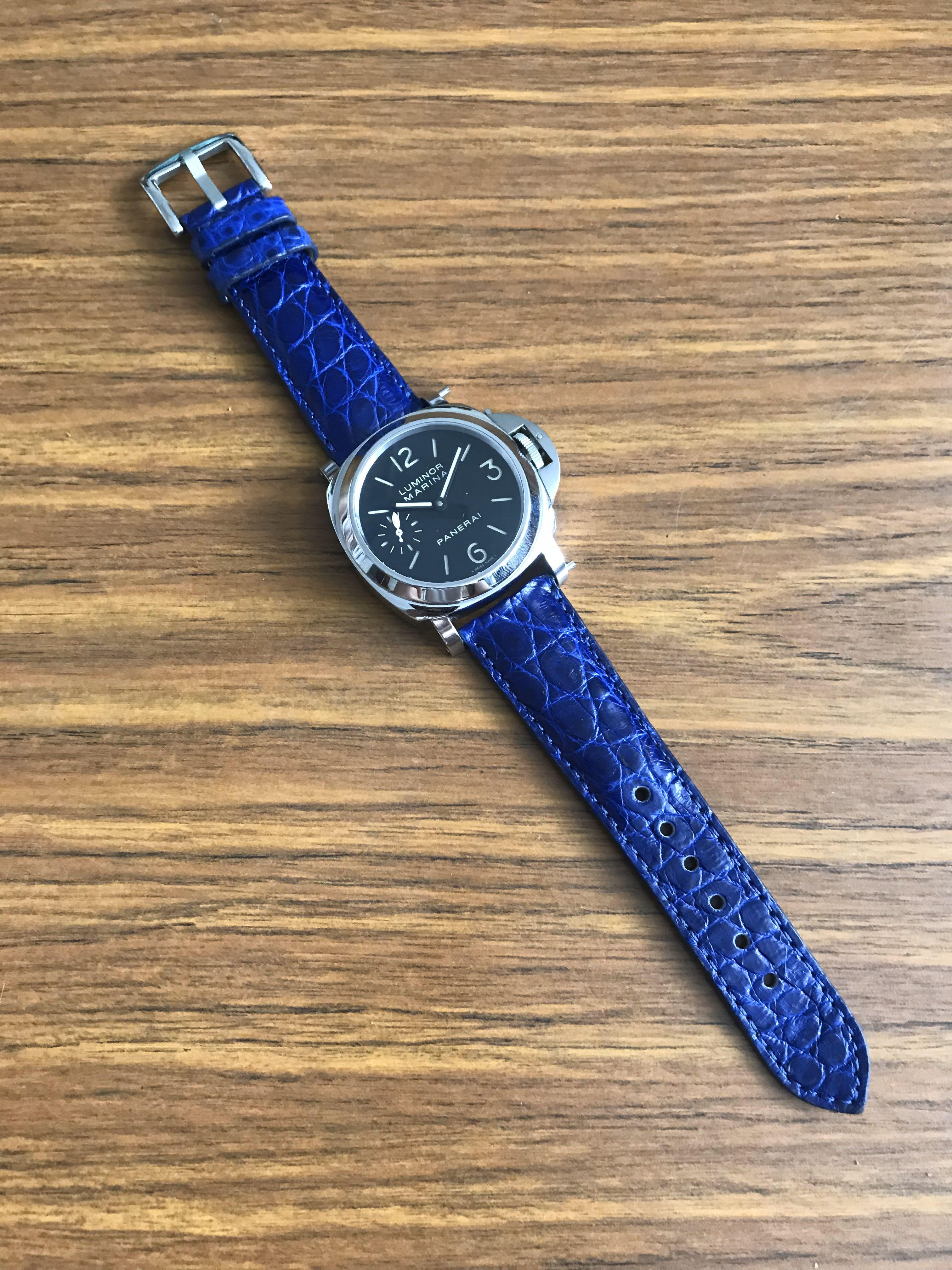 24mm/20mm Authentic Royal Blue Crocodile Alligator Leather Watch Strap (unique grains) (24mm at lug, 20mm at buckle) (seen on a PAM 111)