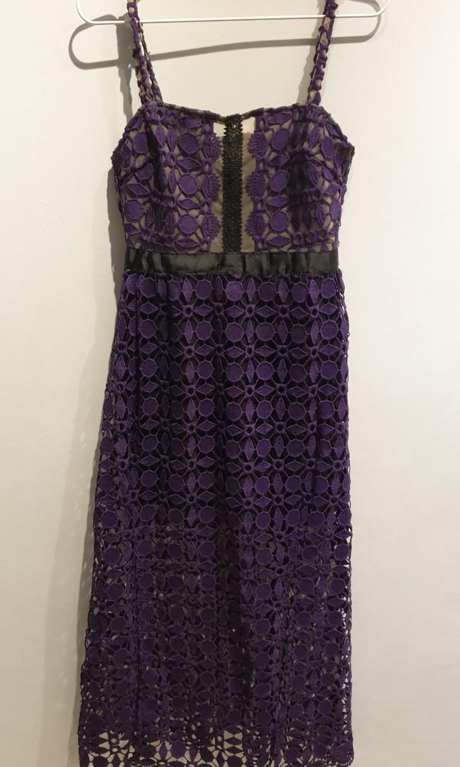 Purple Lace Long Dress
