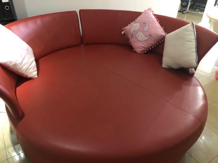 Red leather circle sofa - king living delta circle sofa
