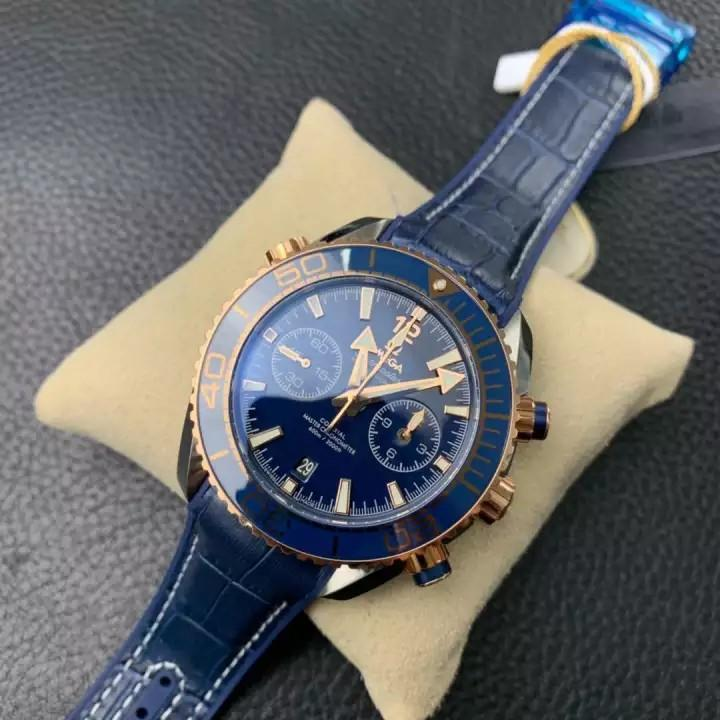 SEAMASTER PLANET OCEAN 600M CO-AXIAL MASTER CHRONOMETER CHRONOGRAPH 45.5MM ON BLUE LEATHER STRAP
