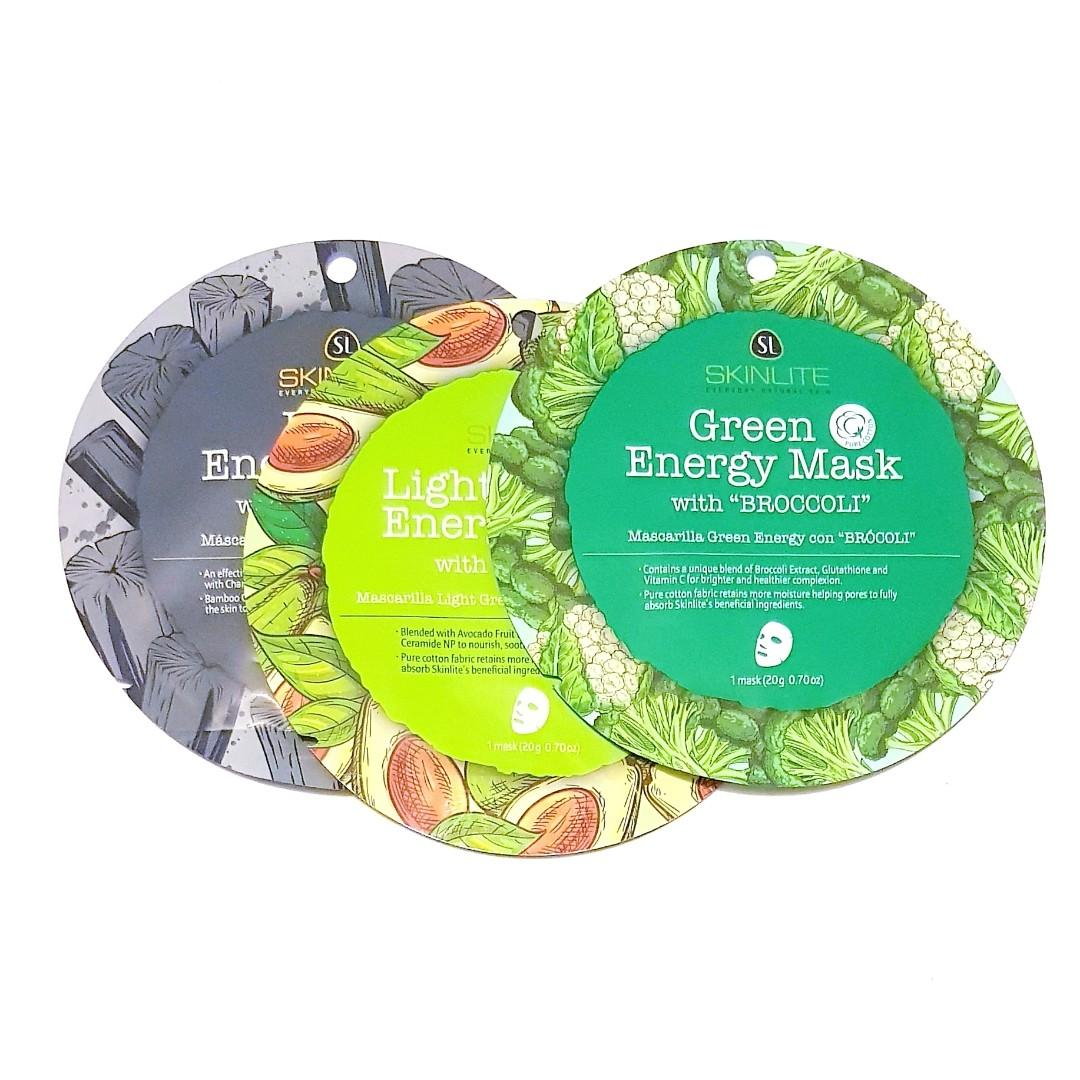 Skin Lite Intense Everyday Natural Skin Light Green Blended Avocado Energy Nourish Hydrate Soothe Facial Face Sheet Mask