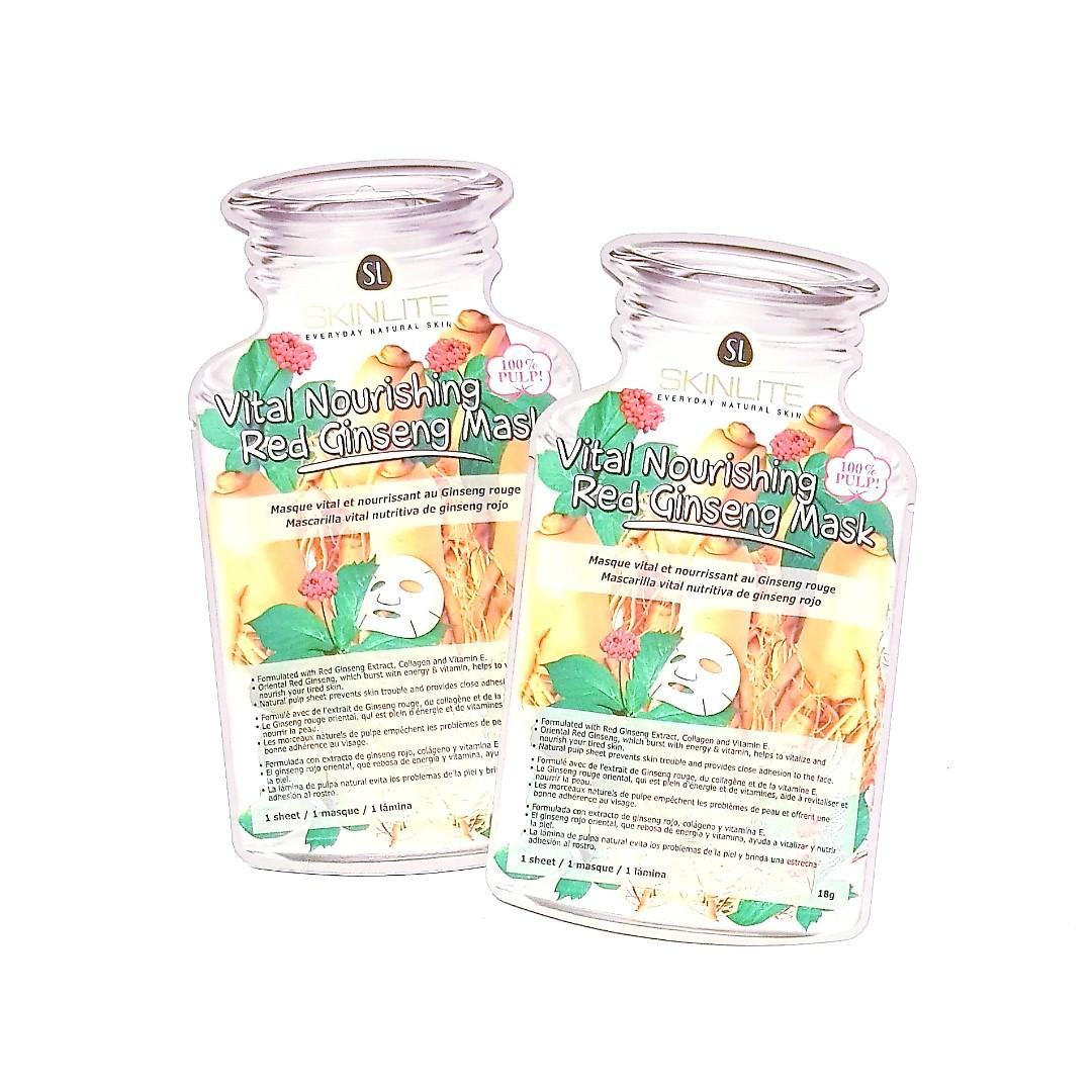 Skin Lite Intense Everyday Natural Skin Rejuvenating Vital Nourishing Smoothing Revitalizing Red Ginseng Face Facial Masque Sheet Mask