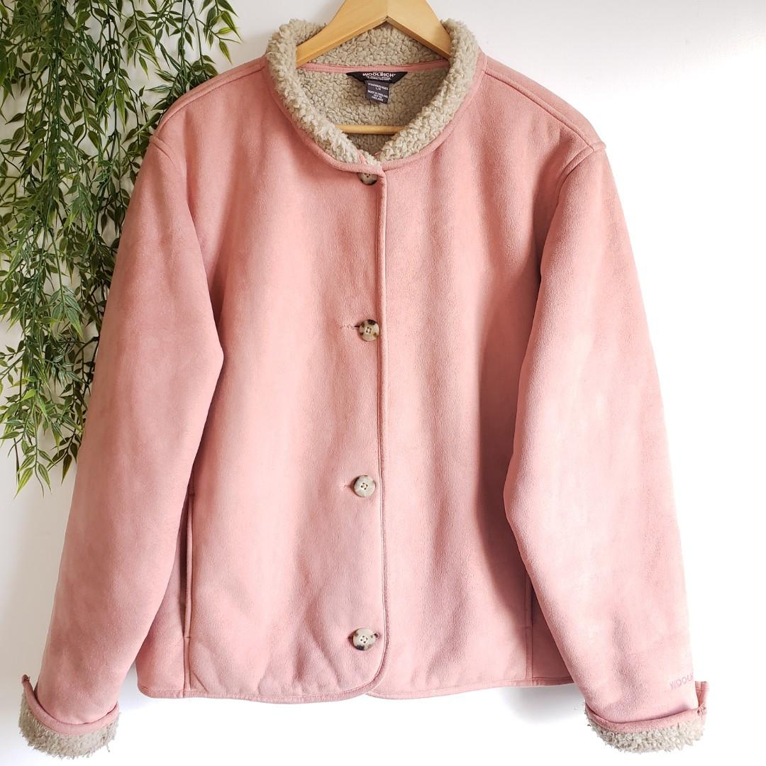 Woolrich Faux Suede With Sherpa Accent Pink Coat Size Large.