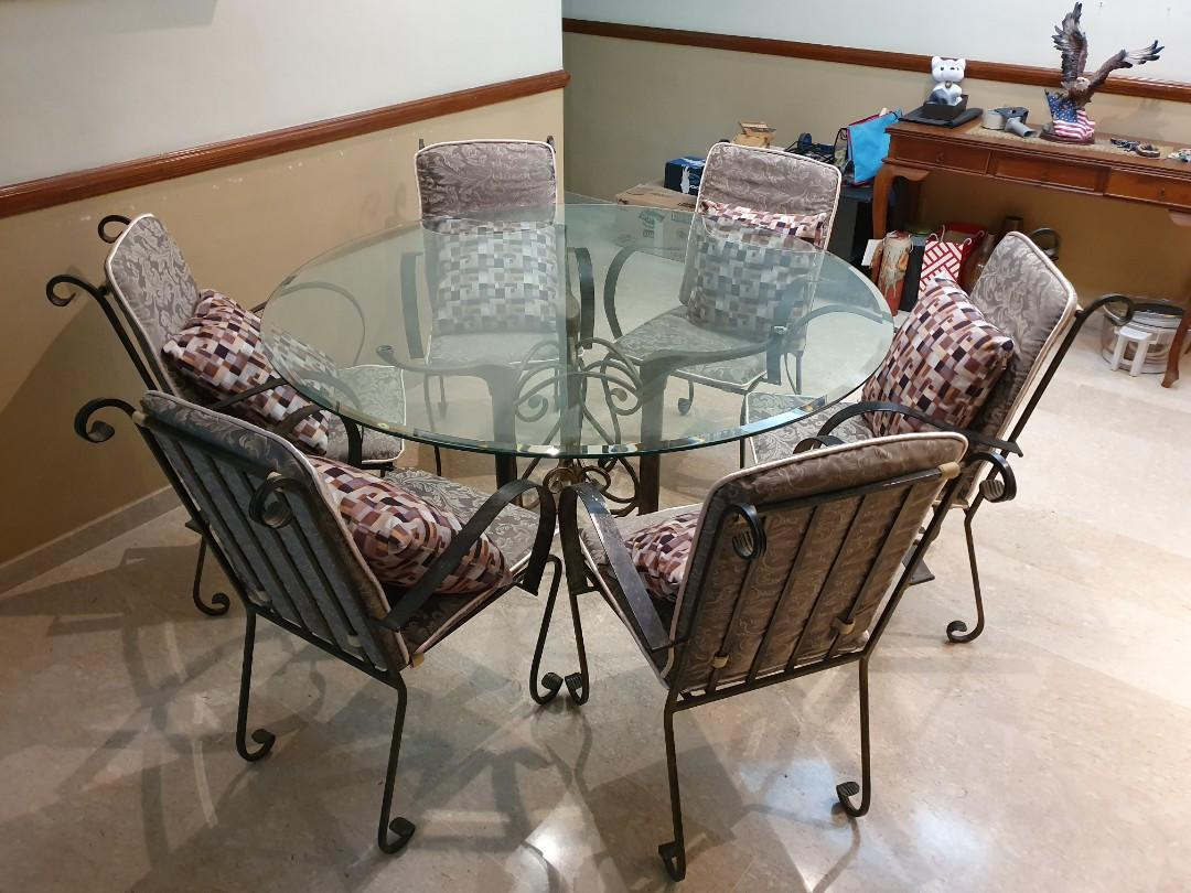 Picture of: Wrought Iron Dining Table Set Black And Gold Furniture Tables Chairs On Carousell
