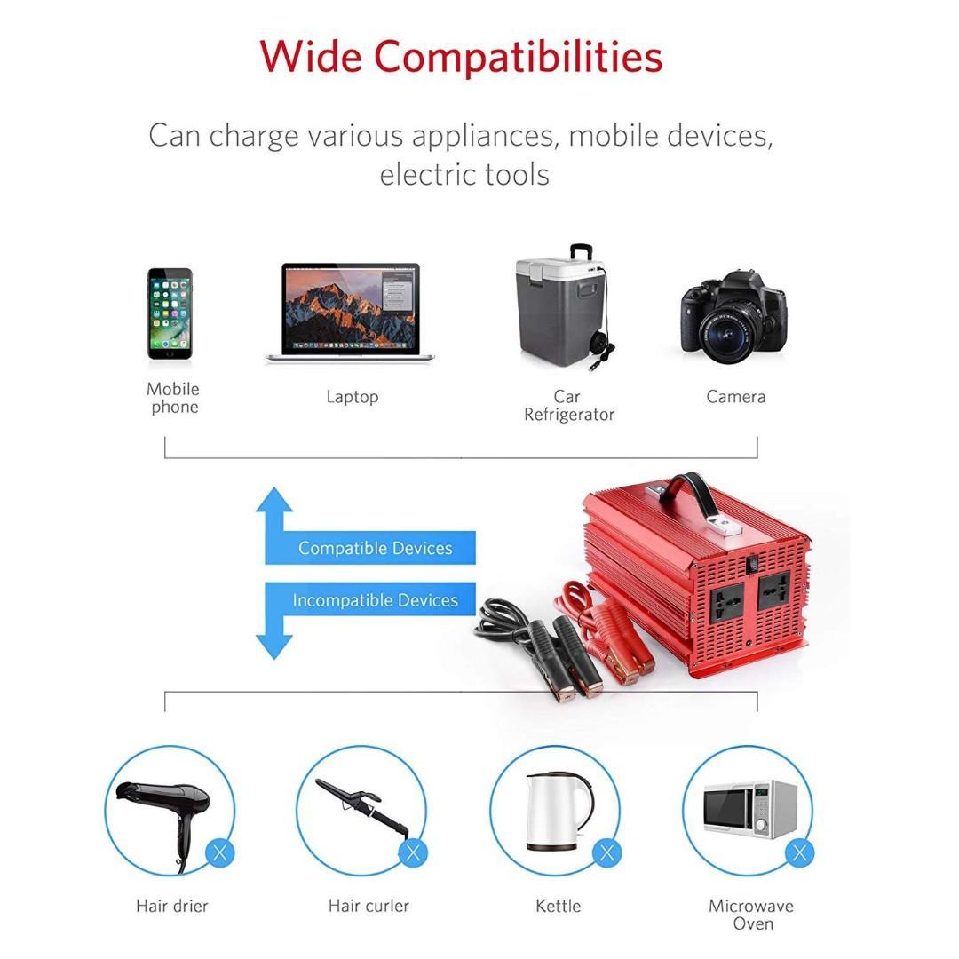 00156-BESTEK 2000W Power Inverter DC 12V to AC 230V 240V Car Voltage Converter with Cigarette Lighter Adapter and Battery Clip