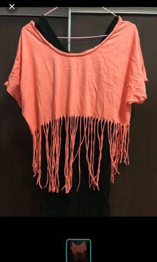 一字領橘色流蘇兩件式洋裝 全新特價100元