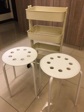 3層收納小推車+2個4腳白色7⃣️個小圓凳
