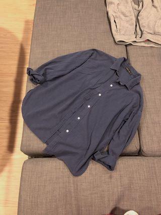 藏青棉質襯衫外套