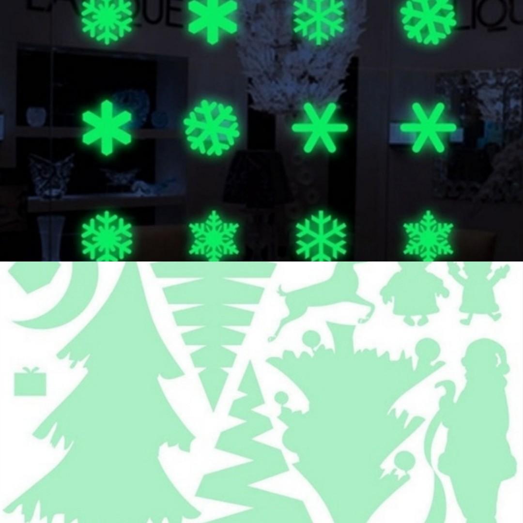 1Pcs Merry Christmas Glow In The Dark Waterproof Window Sticker