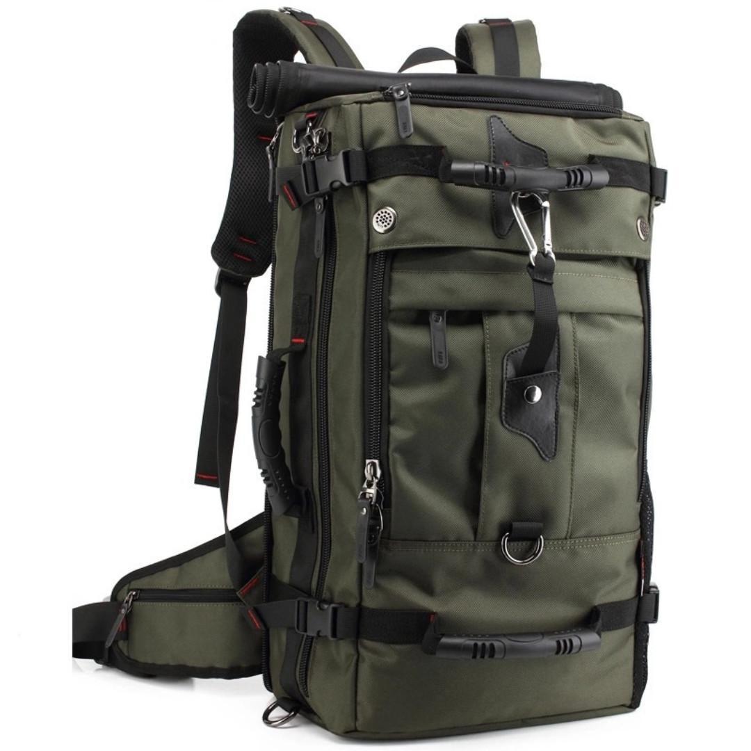 """50L Hiking Trekking Travel Backpack Bag 17"""" Laptop Backpack Shoulder Oxford Bag Men & Women Outdoor Backpack Large Capacity Luggage Bag Black/Army Green 50L Hikking Bag Trekking Back Travel Bag"""