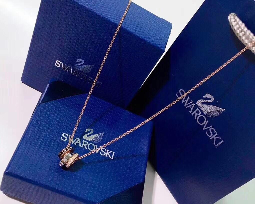 60% off Swarovski double ring necklace three ring transfer beads crystal clavicle chain