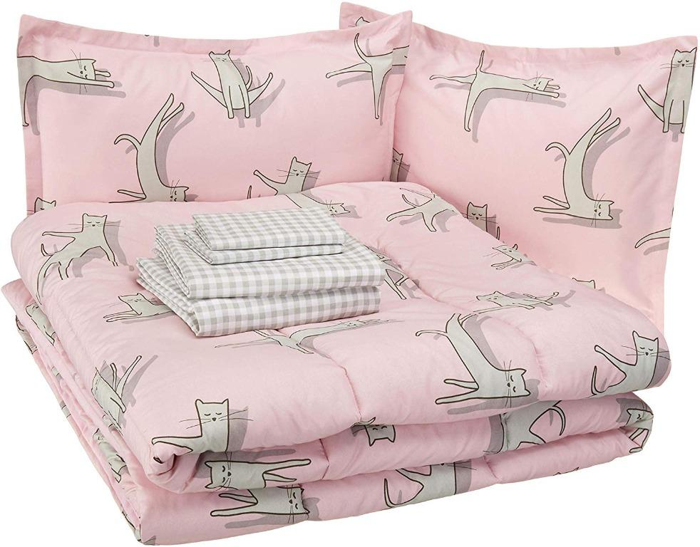 Amazon Basics Bed-in-a-Bag - Pink Cats - Full/Queen