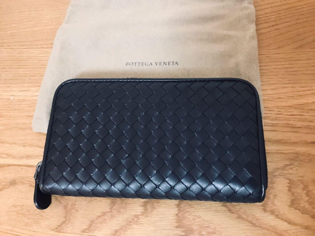 Bottega Veneta Intrecciato Black leather zip around wallet