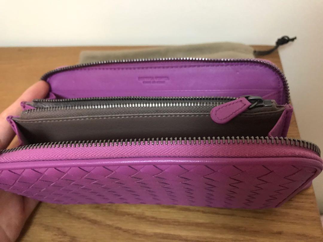 Bottega Veneta Intrecciato purple calf leather zip wallet