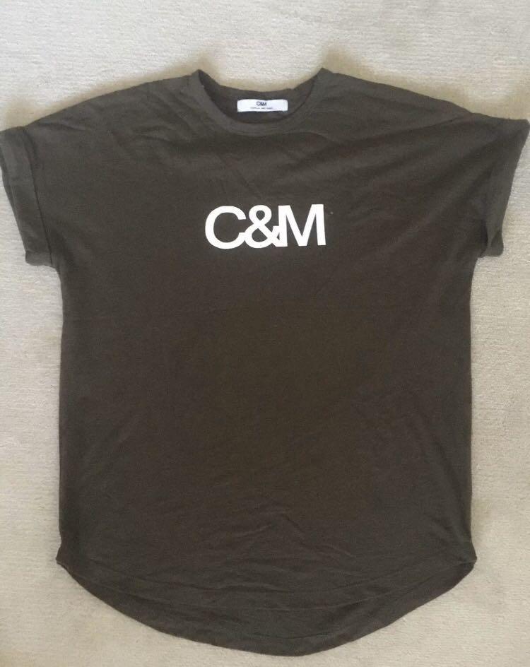 C&M Camilla and Marc huntington khaki tee T-shirt top sz M 10-12 vgc