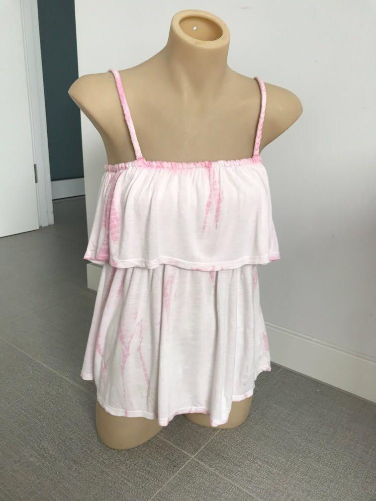 Forever new sz 10 pink white top braided strap vgc worn once