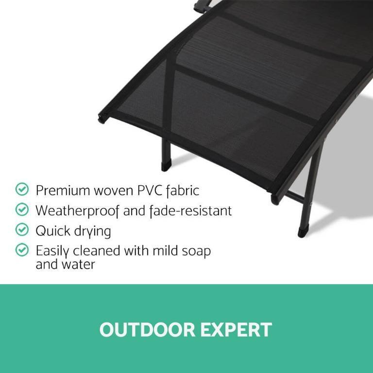 Gardeon Outdoor Sun Lounge Beach Chair Folding Recliner Garden Patio Furniture Black