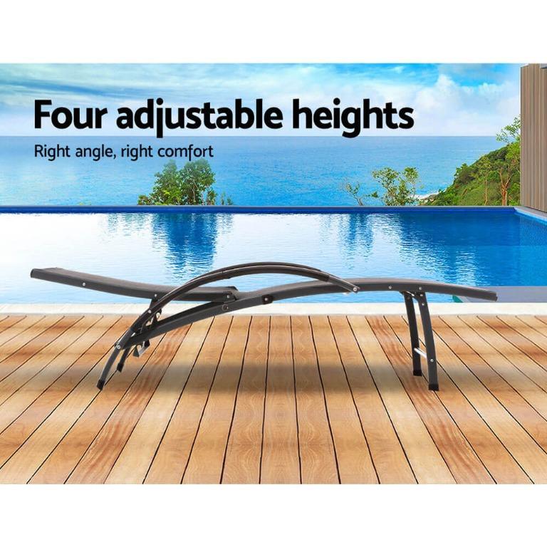 Gardeon Outdoor Sun Lounge Beach Chair Folding Recliner Garden Patio Furniture Grey