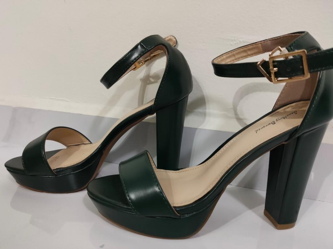 Strap platform heels [Emerald Green