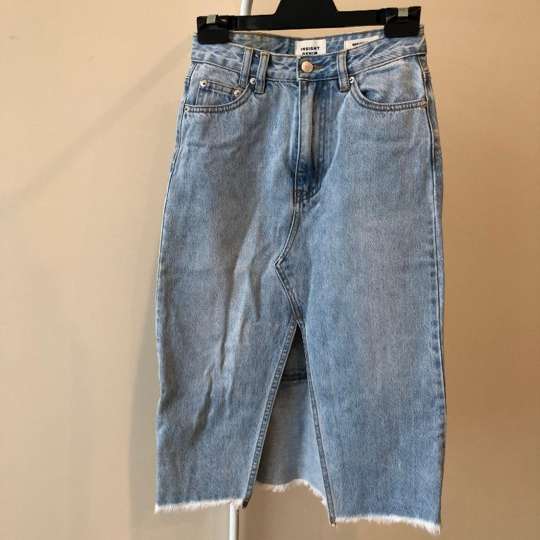 Insight Mid-length Denim Skirt with Front Split Detail (Aus Size 6)