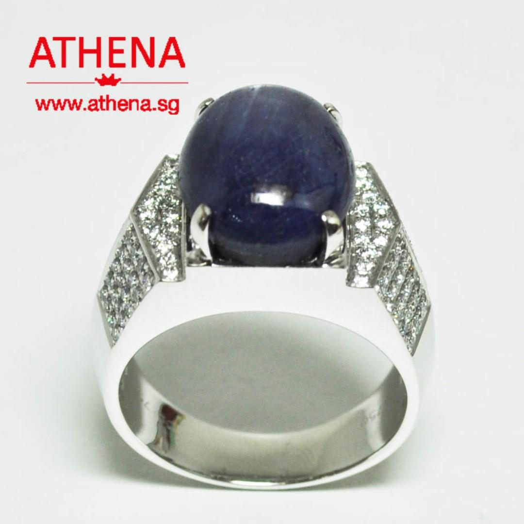 JW_SR_1596 JEWELLERY 18K WG BLUE STAR SAPPHIRE RING ( FROM BURMA ) WITH DIAMOND D104-0.75CTS 15.31G (S1-16.23CTS) [ UNHEATED WITH CERT ]