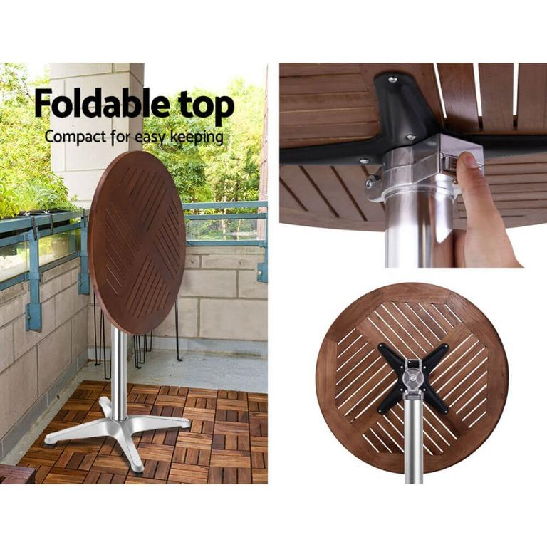 Outdoor Bar Table Furniture Wooden Cafe Table Aluminium Adjustable Round Gardeon