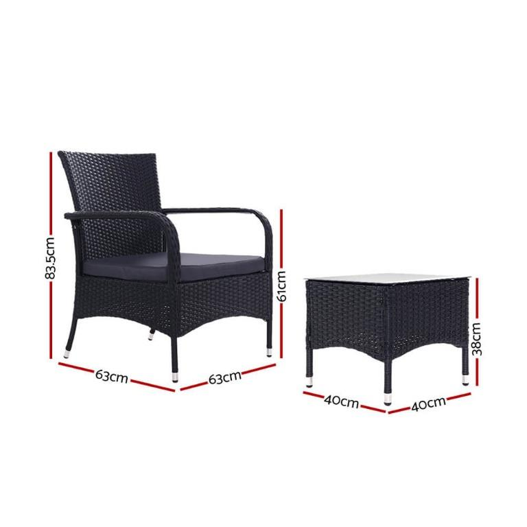 Outdoor Furniture Patio Set Wicker Rattan Outdoor Conversation Set Chairs Table 3PCS