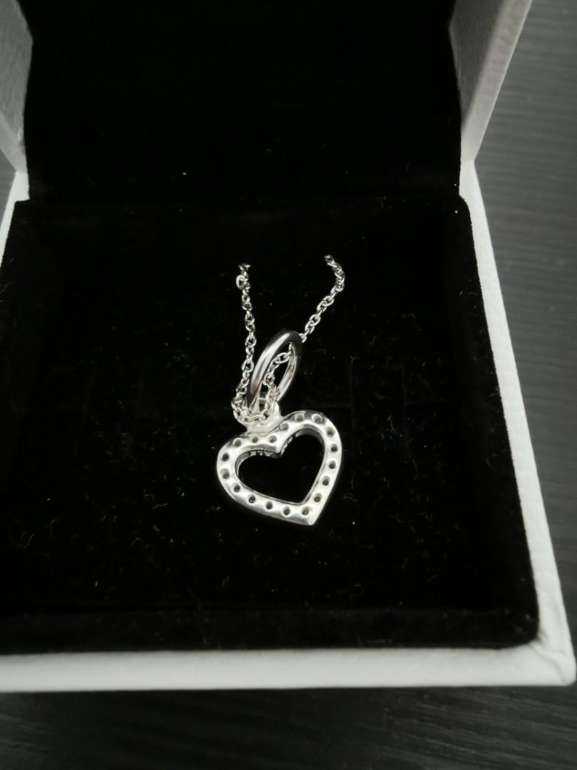 Pandora necklace and heart sparkling charm sterling silver