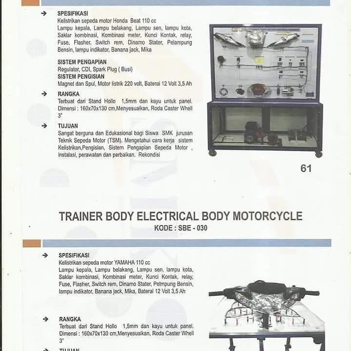 Peralatan peraga pendidikan kejuruan TKR,TSM DAN MEKATRONIKA  peralatan praktek sesuai kopentensi kejuruan