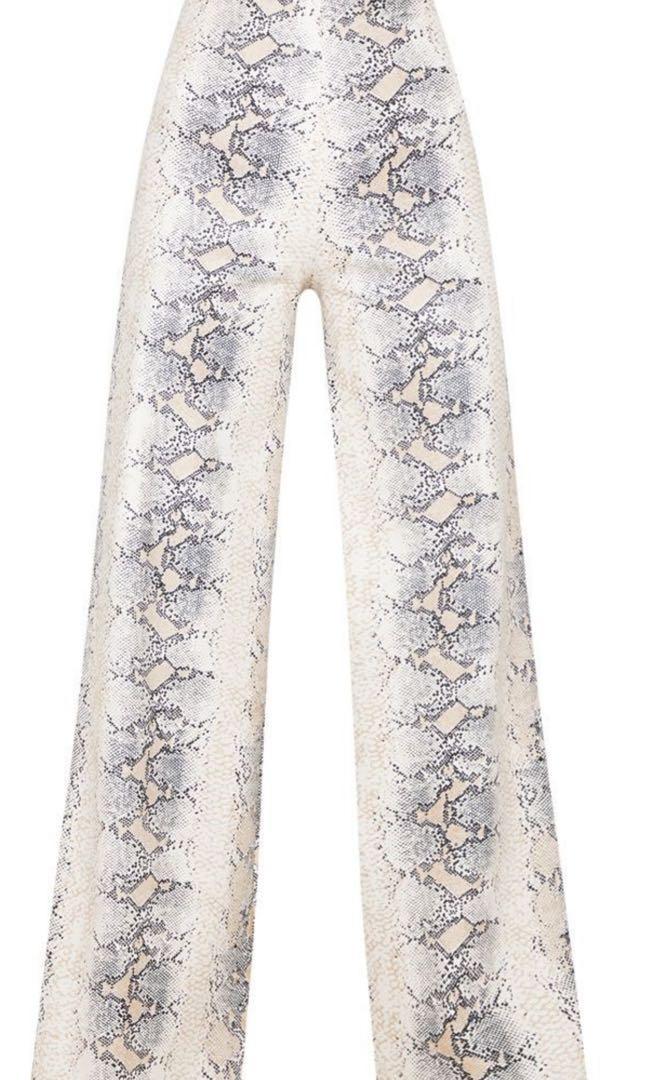 Pretty little thing faux leather Snakeskin Print Wide Leg Pants size 8