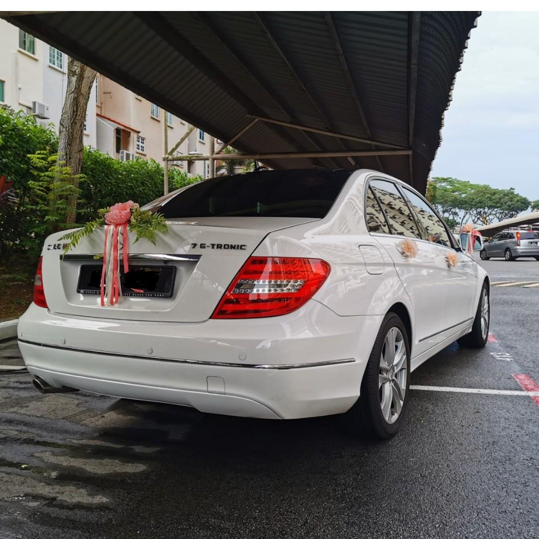 Purity White Mercedes Benz C180 with nice 2-digit number and Sun Roof for Wedding Rental